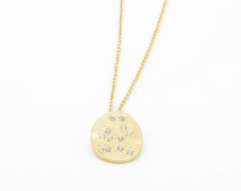 Hand Made GEMINI Zodiac Sign Constellation Necklace 18K Gold Plated Necklace Gemini Star Sign Zodiac Charm Small Charm W098