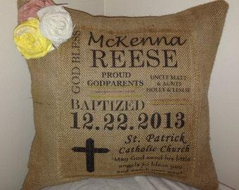 Burlap Baptism Pillow