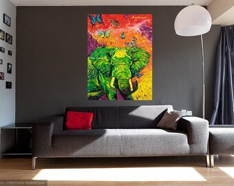 Metal print, Elephant art, Endangered species, Modern elephant art, Animal wall art, Elephant wall art,  Johno Prascak, Johnos Art Studio