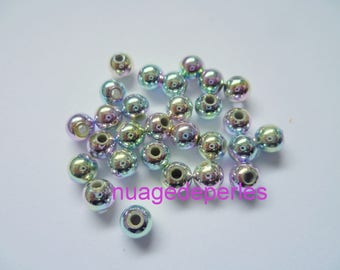50 Silver Pink iridescent beads and blue 5mm