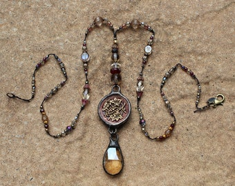 Hand Soldered Vintage Button and Crystal Necklace