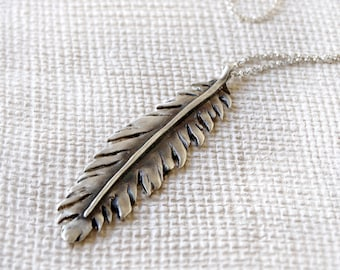 Feather Necklace, Sterling Silver Feather necklace,  feather on Sterling Silver Chain