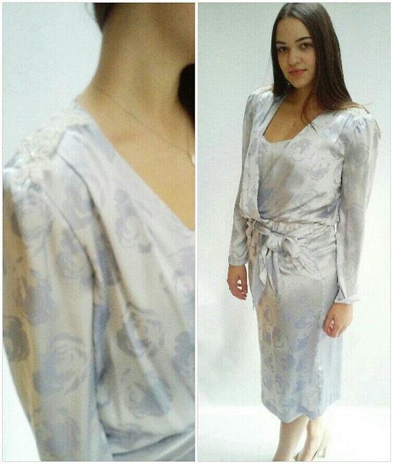 80s metallic beaded power dress / damask / v neck / ruched shoulders /