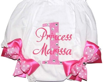"Personalized ""Bling"" Birthday Baby Girl Diaper Cover Bloomers Pink on Pink Double Bows"