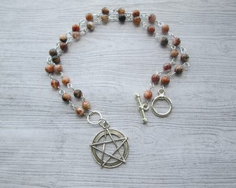 Fire agate necklace, Pagan necklace, Wiccan necklace, pentacle necklace, pentagram necklace, Fire Witch necklace, witchcraft, wicca necklace