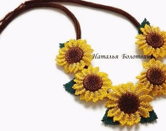 Sunflowers necklace Yellow brown summer necklace Yellow flowers Sunny flowers  necklace Summer jewelry Birthday gift Flower gift