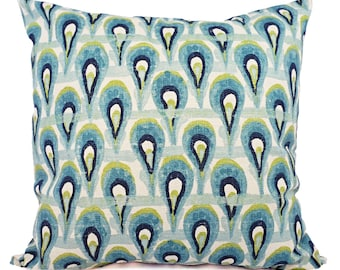Pillow Covers - Two Green and Blue Ikat Covers - Blue Pillow - Blue Ikat Pillow - Green Ikat Pillow - Ikat Pillow Covers