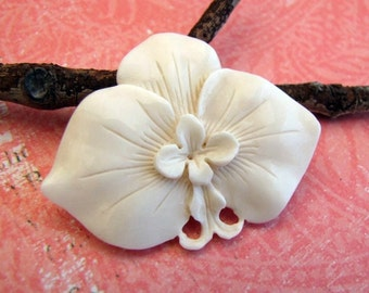 Moth Orchid Carved Bone Cabochon 47mm