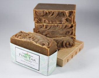 Pine Tar Bar Soap , Natural , Organic , Cold Process Soap , Father's Day Gift