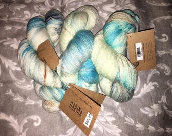New Skein Manos del Uruguay Marina FROZEN Blue Turquoise Multi Color Lace Yarn 874 yards/100g Each (1 Lot of 3 Skeins)
