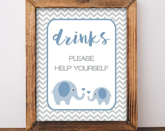 Blue Elephant Drinks Sign, Drink Table Sign, Blue and Grey Chevron, Baby Boy Shower Sign,  INSTANT PRINTABLE