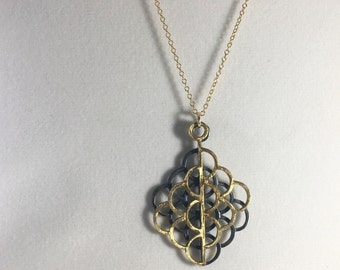 Lotus Sacred Geometry Necklace Sterling Silver Gold Pendant Seed of Life Jewelry Mermaid Dragon Scale Christmas Birthday Gift Her Scallop