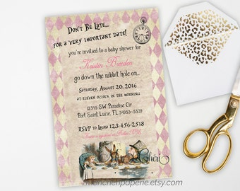 Alice in Wonderland Baby Shower Invitation, Vintage Baby Shower Invitation