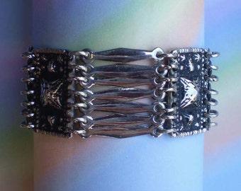 Vintage 50s Mexican Silver Pyramids Panel Link Bracelet