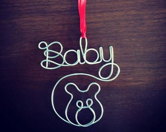 Baby Bear Ornament - Gold or Silver Wire Ornaments for Holidays/ Gift/ Present/ Tag/ Birthday
