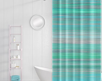 Shower Curtain, Bath Curtain, Bathroom Decor, Teal Aqua Turquoise Green Grey