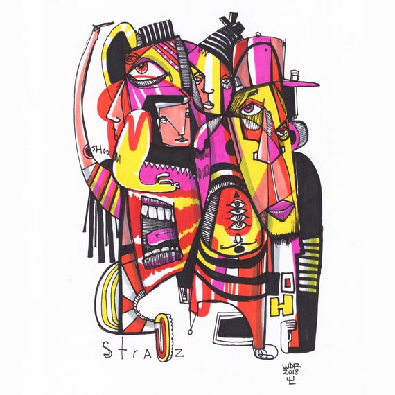 "OH Straz - Original mixed media Illustration on Paper - 8"" x 10"""