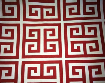 Decorative red greek key pattern pillow cover,  size 18 x 18, color red and white.