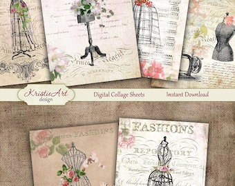 75% OFF SALE Fashion ATC cards - Digital collage sheet, Printable Download, Digital Tags, Fashion collage, Digital Image, Cardmaking image