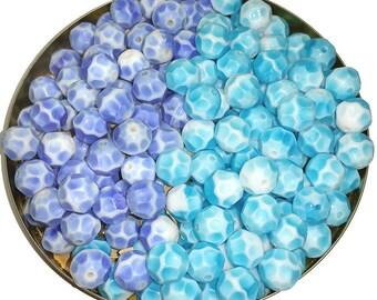 Vintage Bicolor Glass Beads Aqua or Denim Blue & White Pressed Facets 10mm or 12mm
