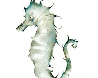 seahorse watercolor print, -seahorse art in Teal Tones Archival Print, ocean decor, beachhouse decor