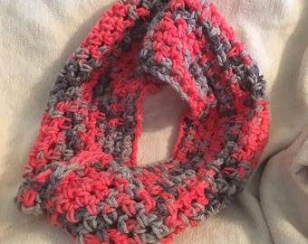 Gray and Salmon Infinity Scarf