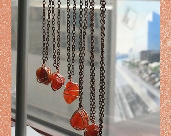 Carnelian Wrapped Crystal necklace