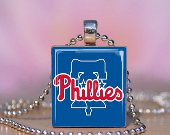Phillies Necklace. Philadelphia Phillies Scrabble Charm Bracelet. Phillies Liberty Bell Charm.  Phillies Pendant.  Gift for Phillies Fan.