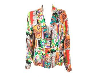 Vtg Taylor Flex Multi Print Blazer Jacket