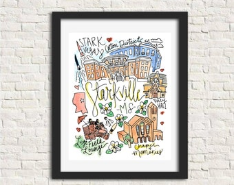 Starkville, Mississippi City Illustration Wall Art Print 8 x 10