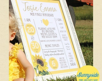 1st Birthday Poster Sunflower Printable 16x20 First Birthday Stats Photo Prop birthday poster girls birthday sign chalkboard favorite things