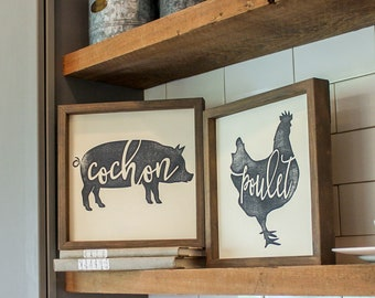 Farm Animal Kitchen Decor - French Country Kitchen Decor - Wooden Kitchen Signs - Country  Wall Decor - Kitchen Wall Pictures