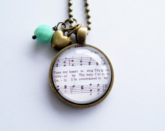Come Though Fount Necklace - Hymn Jewelry - Tune My Heart To Sing Thy Grace - Inspirational Jewelry - Custom Jewelry -  Music Pendant