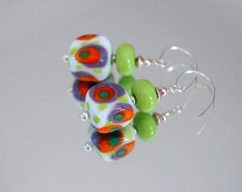 Glass Lampwork bead earrings * green pop * purple/orange/green, murano glass earrings colorful earrings glass square