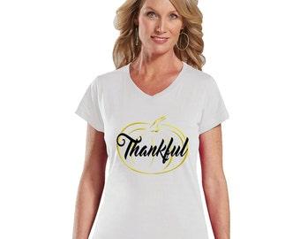 Thankful Gold Pumpkin Modern Fit V-Neck Shirt