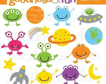 Buy 2, Get 1 FREE - Out of this World Alien Clipart - Digital Aliens Clipart - Instant Download