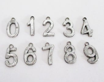 Silver Number Charm - Arabic Number Charm - Add on Charm - 0-9 - Sport Jersey Font Pendant - Birthday Anniversary - Diy Bulk Number Jewelry