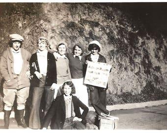 "Vintage Snapshot ""Reading The Funnies"" Teenage Girls Newspaper Comics 1933 Found Vernacular Photo"