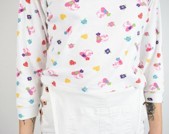 VTG 80s 90s Disney Minnie Pastel Kawaii Cropped Turtleneck 3/4 Length Sleeves Pink Purple Flower Hearts Cartoon popart Vintage Top S/M