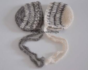 Newborn mohair bonnets, newborn twins bonnet , mohair twins bonnet, twins prop hat, boy bonnet prop, photography prop , baby boys hats,
