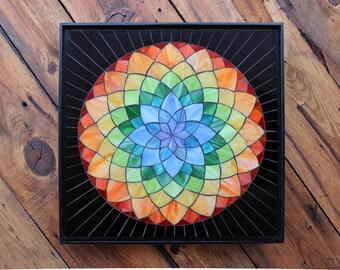 Stained Glass Mosaic - Dahlia Spectrum - Rainbow - Mandala - ON SALE!