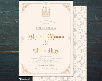 Salt Lake City temple invitation, Latter Day Saints Wedding Invitation, LDS Mormon Wedding Invitation, Religious Wedding Invitation,