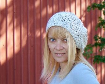 Aran Fleck Slouch Hat,  Crochet Beanie,  Womens Slouchy Beanie,  Crochet Tam, Autumn Fashion, Neutral Crochet Hat, Lace Crochet Hat