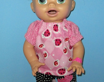 Snackin Sara, Baby Alive, Lady Bug Print Top, Capri's with Lace,  Fits 15 16 Inch Doll, 15 16 inch Doll Clothes