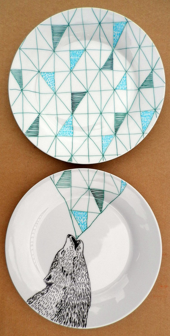 Items similar to Howling Wolf Geometric Design Plates hand ...