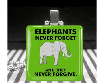 Elephant Jewelry Elephants Never Forget and they Never Forgive Geekery Necklace Punk Rocker Gift Green Silver Pendant Odd Weird Animal Stuff