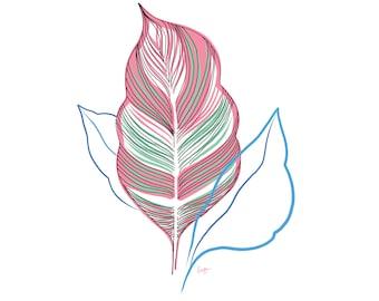 Minimalist Leaf Print, Botanical, Digital Download