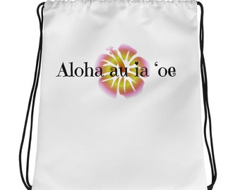 Hawaiian I Love You Hibiscus Flower Drawstring bag