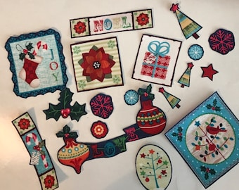 Whole Lot of Christmas Appliques - Iron On Fabric Appliques - Holidays