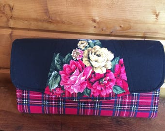 Necessary clutch wallet/NCW/Clutch/ accordion wallet/ womans wallet/red plaid/ floral/gift/ handmade